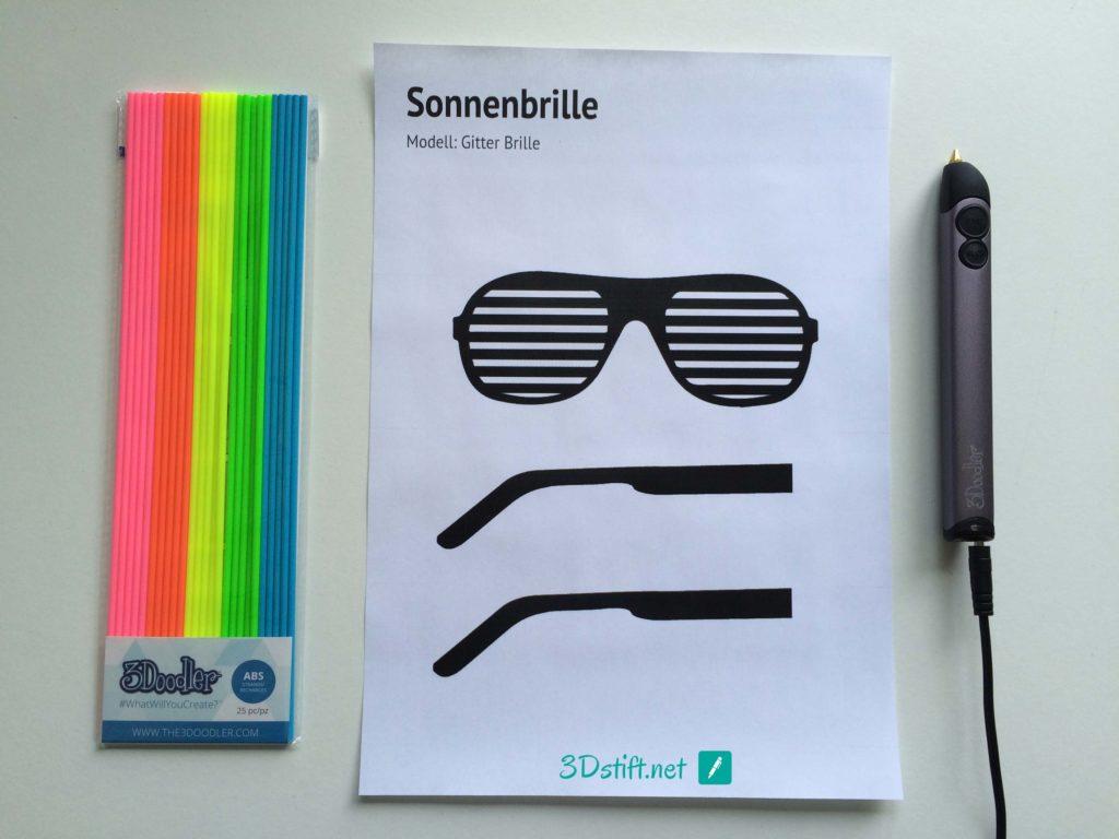 3Dooder 2.0 Test 3D Druck Vorlage Sonnenbrille