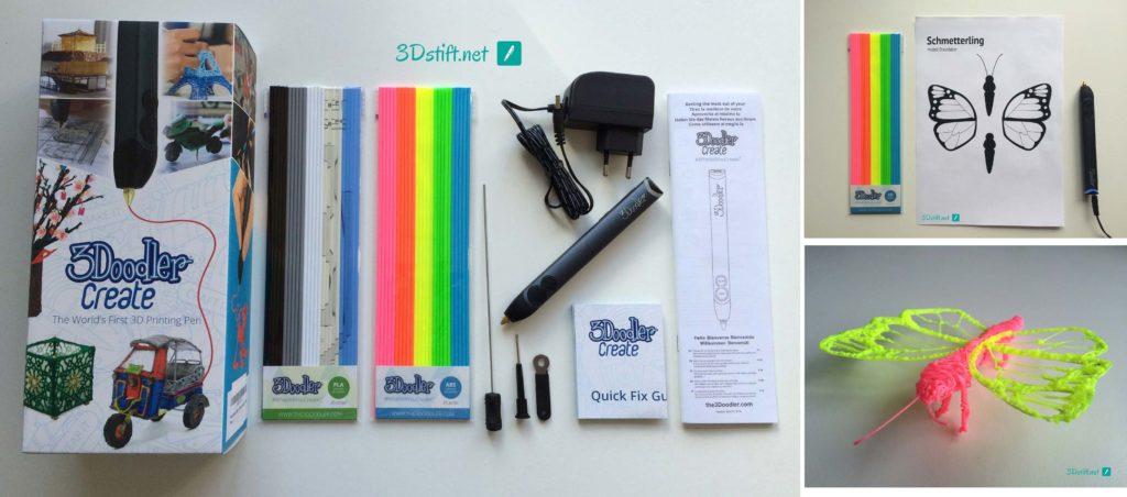 3Doodler Create Test 3D-Pen Lieferumfang 3D-Druck Schmetterling
